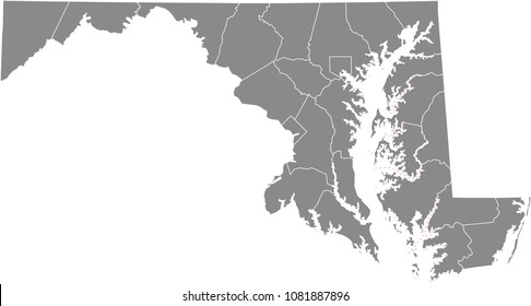 Maryland county map vector outline illustration gray background. Maryland state of USA county map. County map of Maryland state of United States of America