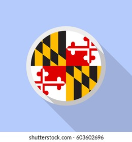 Maryland flag in circle shape. Flat style vector image with long shadow