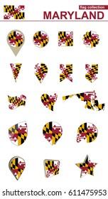 Maryland Flag Collection. Big set for design. Vector Illustration.