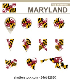 Maryland Flag Collection, USA State, 12 versions