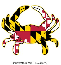 Maryland Flag Crab Isolated Vector Illustration