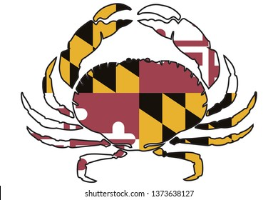 Maryland Flag in Crab Outline