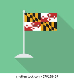 Maryland flag with flagpole flat icon with long shadow. Vector illustration EPS10