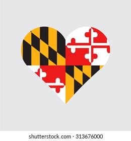 Maryland flag heart . Love to country and state. Vector illustration EPS8