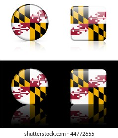 Maryland Flag Icon on Internet Button Original Vector Illustration AI8 Compatible