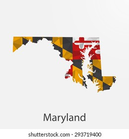 Maryland flag map in geometric,mosaic polygonal style.Abstract tessellation,background. Low poly vector illustration EPS10