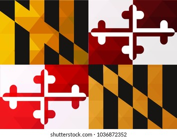Maryland Flag vector illustration. Maryland Flag. National Flag of Maryland. Mosaic flag. Vector