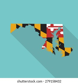 Maryland flag,map flat icon with long shadow. Vector EPS10