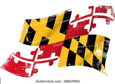 Maryland grunge flag. Flag of  Maryland in the wind with a texture