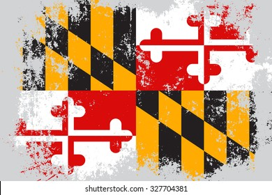 Maryland grunge, old, scratched style state flag