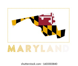 Maryland Logo. Map of Maryland with us state name and flag. Appealing vector illustration.