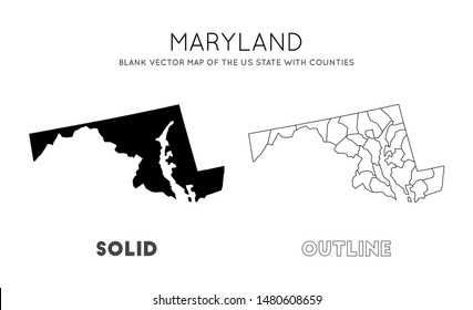 Maryland map. Blank vector map of the Us State with counties. Borders of Maryland for your infographic. Vector illustration.
