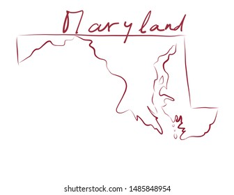 Maryland map colored flag vector illustration of the country and its islands