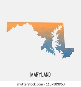 Maryland map in geometric polygonal,mosaic style.Abstract tessellation,modern design background,low poly. Geometric cover, mockup. Vector illustration.