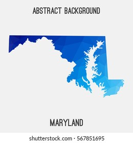 Maryland map in geometric polygonal,mosaic style.Abstract tessellation,modern design background. Vector illustration EPS8