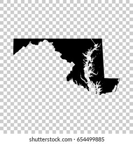 Maryland map isolated on transparent background. Black map for your design. Vector illustration, easy to edit.