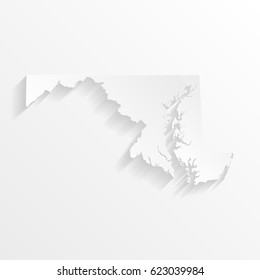 Maryland Map with shadow. Cut paper isolated on a white background. Vector illustration.