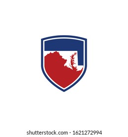 Maryland Map and Shield Logo Icon Template 001