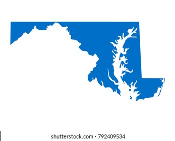 Maryland map Sky Blue Tone vector isolated on white background vector EPS 10