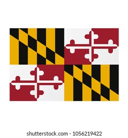 Maryland national flag on white background texture. Vector illustration state symbol.