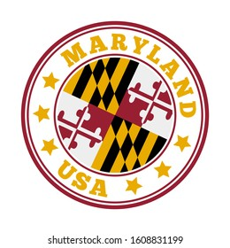 Maryland sign. Round us state logo with flag of Maryland. Vector illustration.