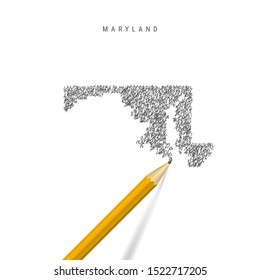 Maryland sketch scribble map isolated on white background. Hand drawn vector map of Maryland. Realistic 3D pencil.