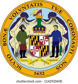 Maryland State Flag Seal Love Heart United States America American Illustration