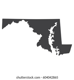 Maryland state map in black on a white background. Vector illustration