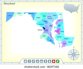 Maryland State Map with Community Assistance and Activates Icons Original Illustration