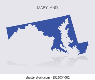 Maryland State Map Outline for infographics or news media for politics and elections in the United States of America. Democrat blue isolated vector illustration.