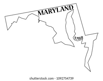 A Maryland state outline with the date of statehood isolated on a white background