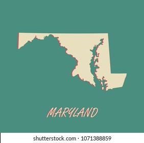 Maryland state of US map vector outlines illustration in a three dimensional grunge background