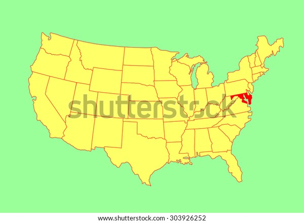 Maryland State Usa Vector Map Isolated Stock Vector (Royalty ...