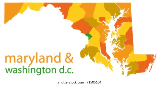 maryland state and washington dc vector map