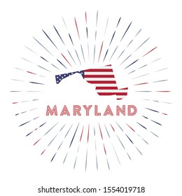 Maryland sunburst badge. The us state sign with map of Maryland with American flag. Colorful rays around the logo. Vector illustration.