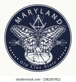 Maryland. Tattoo and t-shirt design. Welcome to Maryland (USA). Old Line State slogan. Travel concept