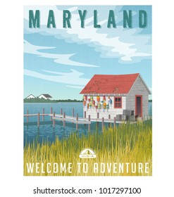Maryland, United States travel poster or sticker. Retro style vector illustration of fictional fishing shack with crab traps and buoys.