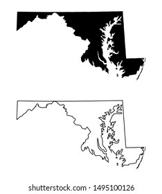 Maryland US Map silhouette black color and outline vector isolated on white background