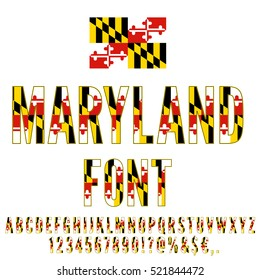 Maryland USA state flag font. Alphabet, numbers and symbols stylized by state flag. Vector typeset