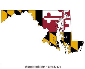 Maryland vector map with the flag inside.