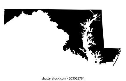 Maryland vector map silhouette isolated on white background. High detailed silhouette illustration. United state of America country.