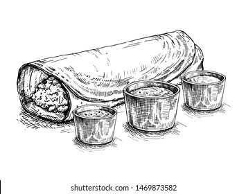 Masala Dosa. Traditional indian dish. Vector hand drawn illustration. Sketch style.Pancake served with spicy dips