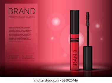 Mascara brush vector banner mock-up advertising. Realistic 3d red eyelash or eyecleaner package design. Luxury makeup cosmetic product container or tube in cherry color with beauty catalog ad layout.