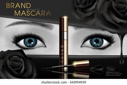 mascara design picture, with blue eyes and black rose flower elements for advertising use, black and white picture, 3d illustration