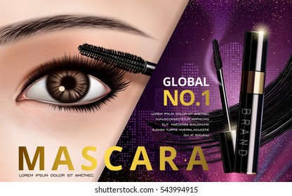mascara design picture, with single bright eye and eyelash for advertising use, 3d illustration