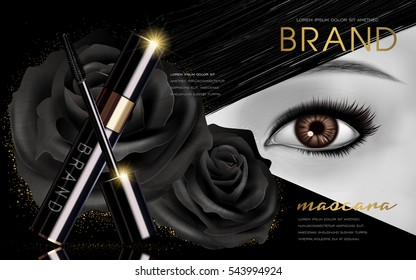 mascara design picture, with single bright eye and black rose flower elements for advertising use, black and white picture, 3d illustration