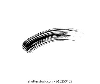 Mascara eyelashes brush stroke makeup isolated on white background. Vector black hand drawn lash scribble swatch.