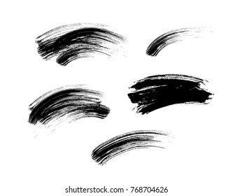 Mascara eyelashes brush stroke makeup set isolated on white background. Vector black hand drawn lash scribble mascara texture swatch for fashion cosmetic makeup design.