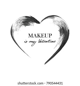 Mascara heart smear brush, black grunge swatch in heart shape isolated on white, vector illustration. Makeup is my Valentine. Concept card design for St. Valentine's Day. Woman's cosmetics concept.