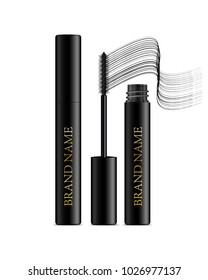 A mascara tube and a wand applicator. Cosmetic black gold bottle with eyelash brush. Isolated on white background. Grunge swatch, black wavy brush stroke hand drawn. 3d realistic vector.